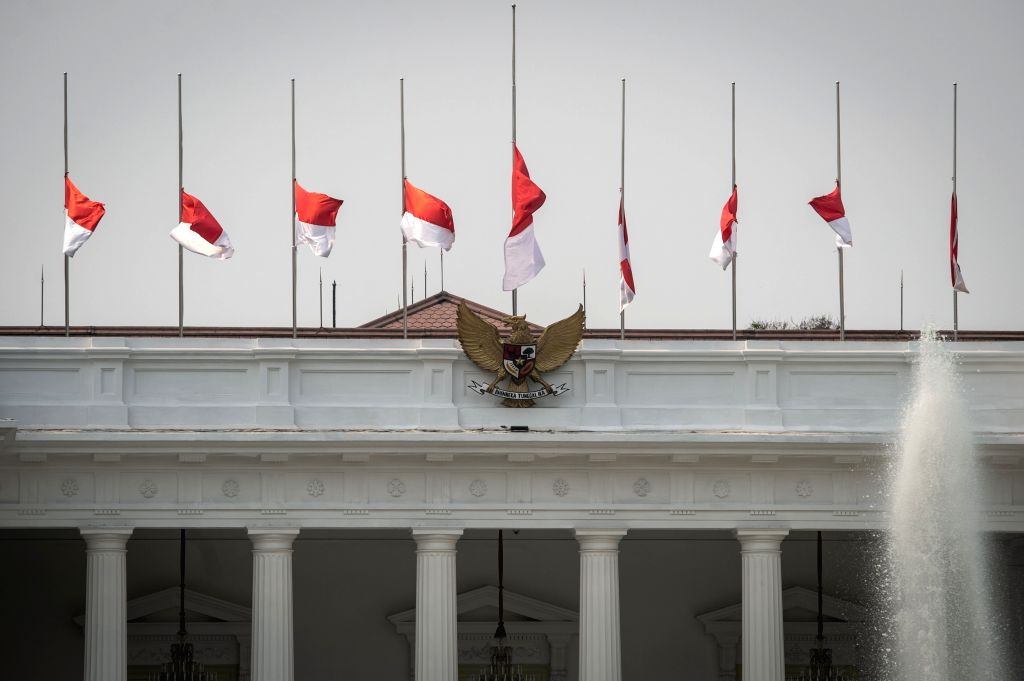 JAKARTA, Sept. 12, 2019 - The Indonesian national flags fly half-mast at the president palace to mourn for former Indonesian President Bacharuddin Jusuf Habibie in Jakarta, Indonesia, Sept. 12, 2019. ...