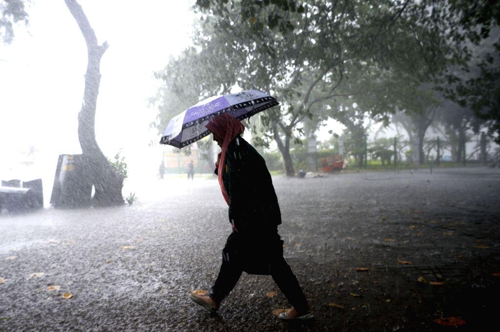 JAKARTA, Sept. 19, 2016 - A woman holding an umbrella walks in the rain in Jakarta, Indonesia, Sept. 19, 2016.