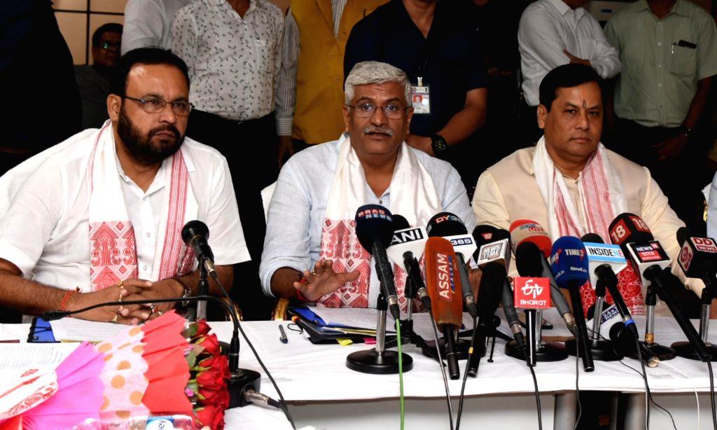 Jal Shakti Minister Gajendra Singh Shekhawat addresses a press conference in Guwahati on July 16, 2019. - Gajendra Singh Shekhawat