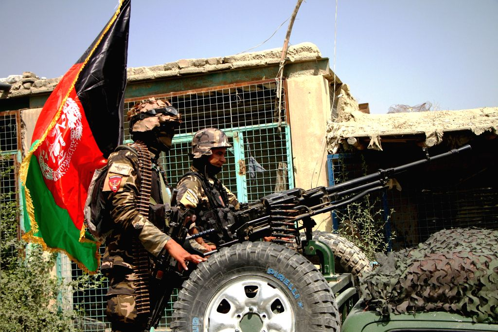 JALALABAD (AFGHANISTAN), Aug. 2, 2016 Afghan security force members stand on a military vehicle during a military operation against Islamic State (IS) in Kot district of Nangarhar ...