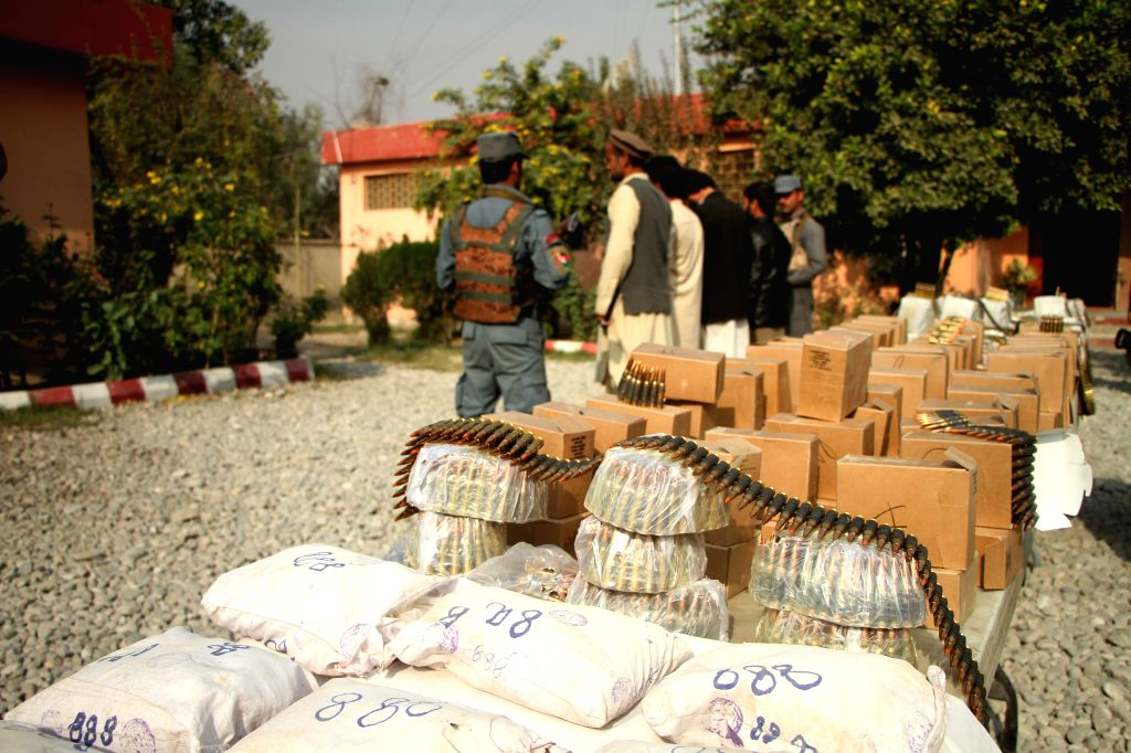 JALALABAD, Nov. 20, 2016 - Photo taken on Nov. 20, 2016 shows ammunition seized by Afghan security forces in Nangarhar province, Afghanistan. Afghan security forces seized a large quantity of ...