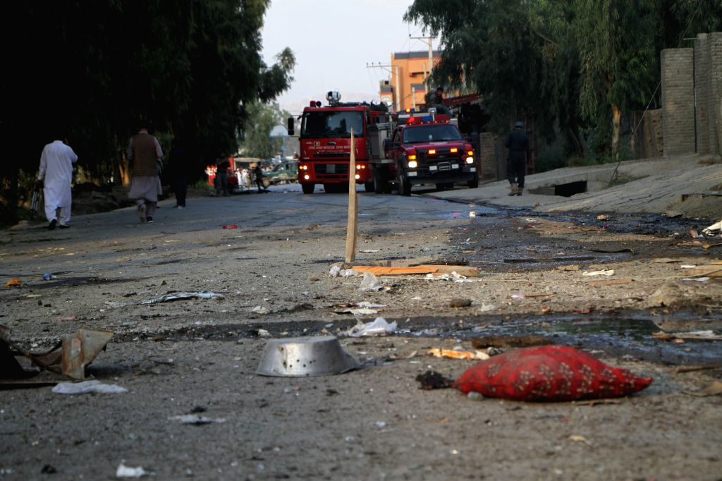 JALALABAD, Oct. 26, 2019 - Photo taken on Oct. 25, 2019 shows the site of an attack in Jalalabad city, Afghanistan. At least two persons were confirmed dead and 11 others sustained injuries as a ...