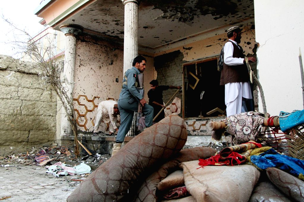 JALALABAD, Oct. 31, 2016 - Photo taken on Oct. 31, 2016 shows the site of a suicide attack in Nangarhar province, Afghanistan. A suicide attack rattled eastern Afghanistan's Jalalabad city, the ...