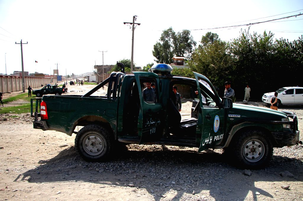JALALABAD, Oct. 9, 2016 - Afghan security force members inspect the site of a roadside bomb in Jalalabad, Nangarhar province, Afghanistan, Oct. 9, 2016. Five people including three police were killed ...