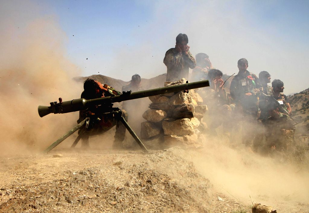 JALALABAD, Sept. 17, 2019 (Xinhua) -- Afghan security force members take part in a military operation against Islamic State (IS) in Achin district of eastern Nangarhar province, Afghanistan, Sept. 16, 2019. (Photo by Saifurahman Safi/Xinhua/IANS)