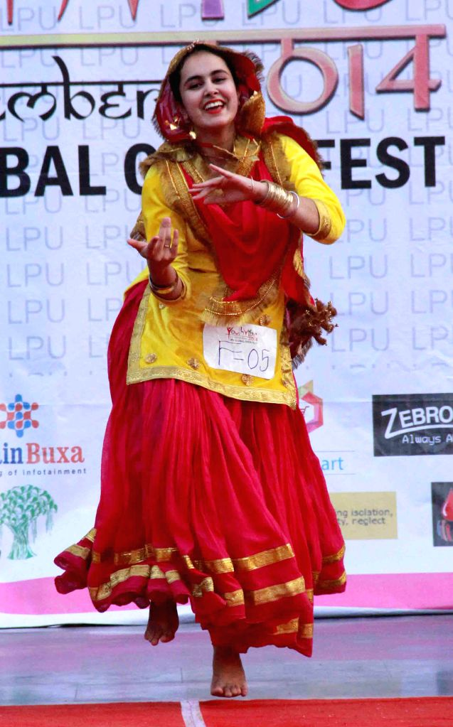 A student performs during Global Youth Festival- Youth Vibe 2014 in Jalandhar, Punjab on on Nov 12, 2014.