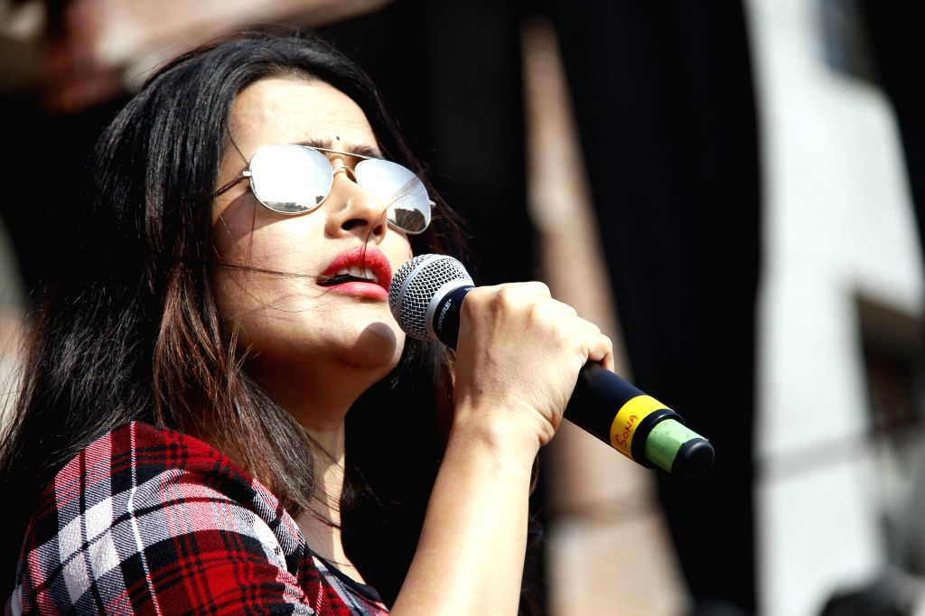 Singer Sona Mohapatra performs at Youth Vibe 2014 in Jalandhar, Punjab on on Nov 14, 2014.