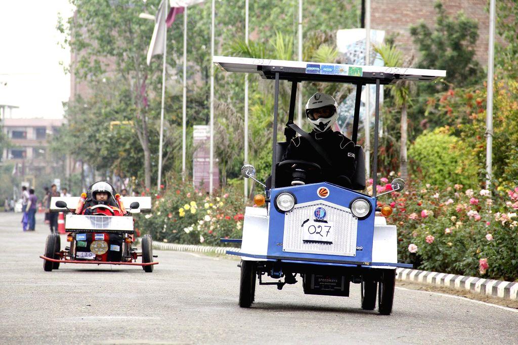 Solar Cars participate in Indo Asian Solar Car Challenge 2015 in Jalandhar on April 8, 2015.