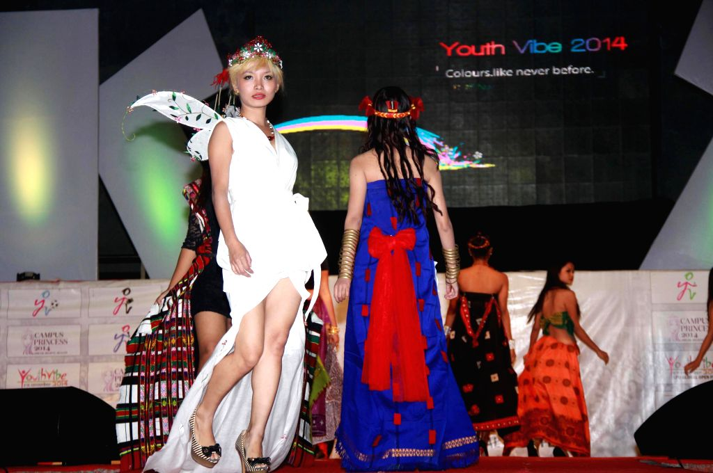Students participating in fashion show during the Global Open Festival `Youth Vibe-2014` in Jalandhar on Nov. 15, 2014.