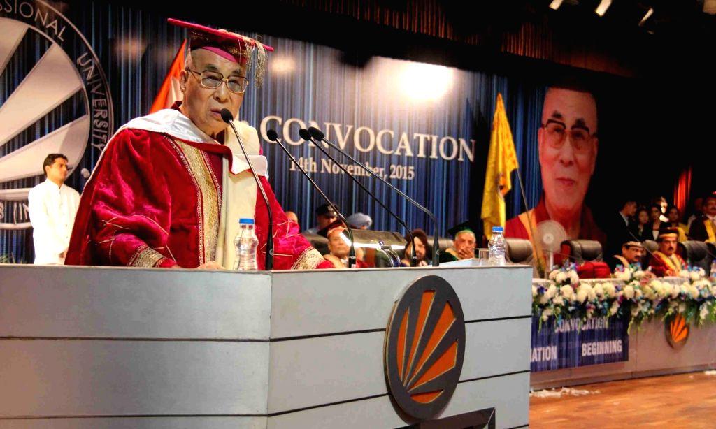 :Jalandhar: Tibetan spiritual leader the Dalai Lama during a college programme in Jalandhar on Nov 14, 2015. (Photo: IANS).
