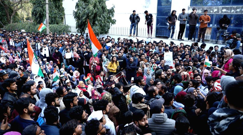 Jamia students march to Parliament. (Photo: IANS)