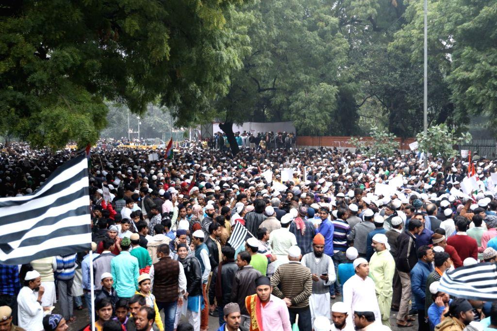Jamiat Ulema-e-Hind activists stage a massive protest against the Citizenship Amendment Bill (CAB), in New Delhi on Dec 13, 2019.