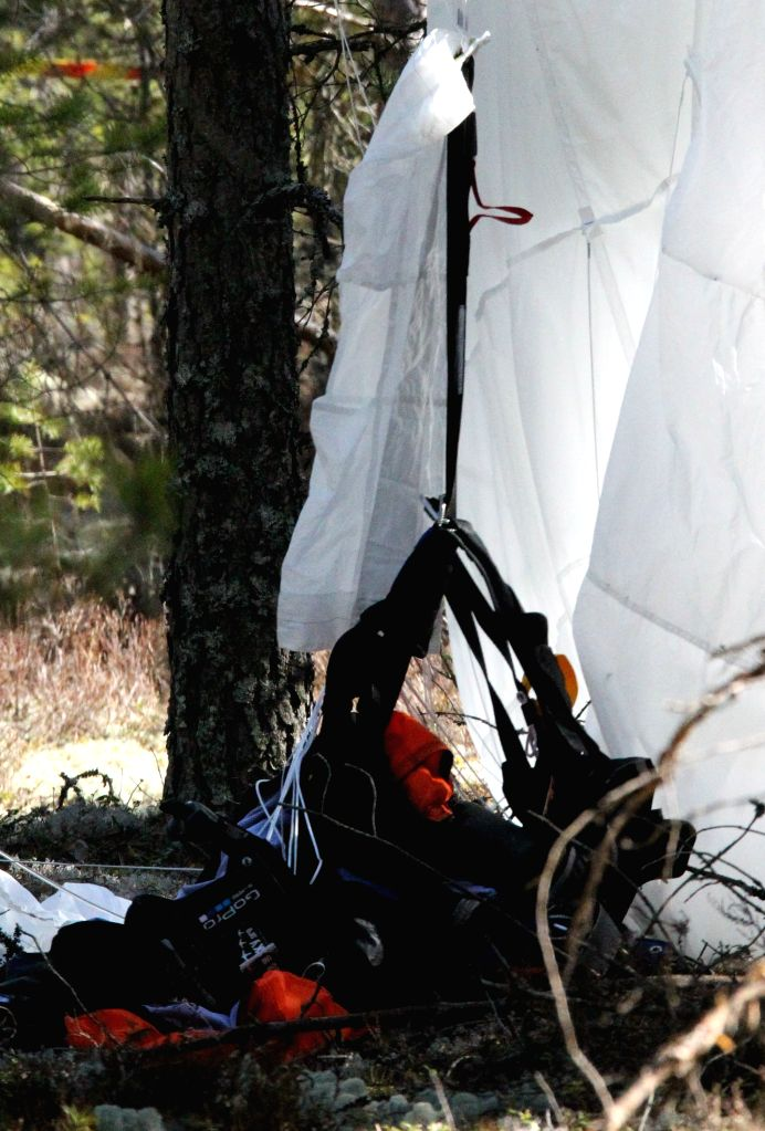 The parachute of one surviver of a plane crash is seen in the woods near the Jamijarvi airport in southern Finland, April 21, 2014. A small passenger plane ...