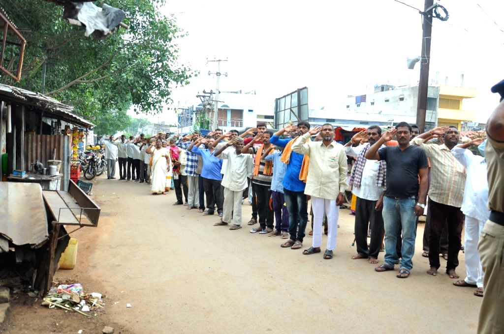 Jammikunta: Life in Jammikunta, a town in Telangana, comes to a halt every day at 8 a.m. as people pause for a minute to sing the national anthem. Since August 15, 2017, this has become a daily routine of the people in this town located in Karimnagar