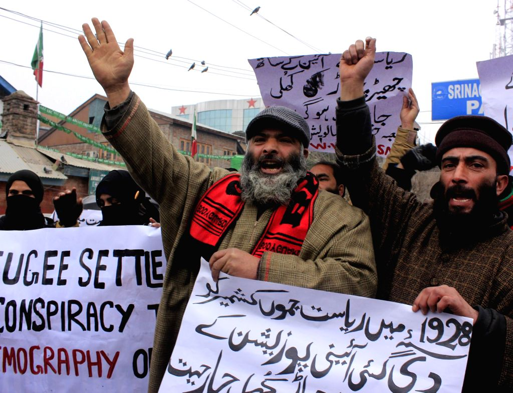 Jammu and Kashmir: Activists of Jammu Kashmir Salvation Movement stage a demonstration against 'permanent resident' status to refugees from erstwhile West Pakistan, settled in Jammu and Kashmir ..