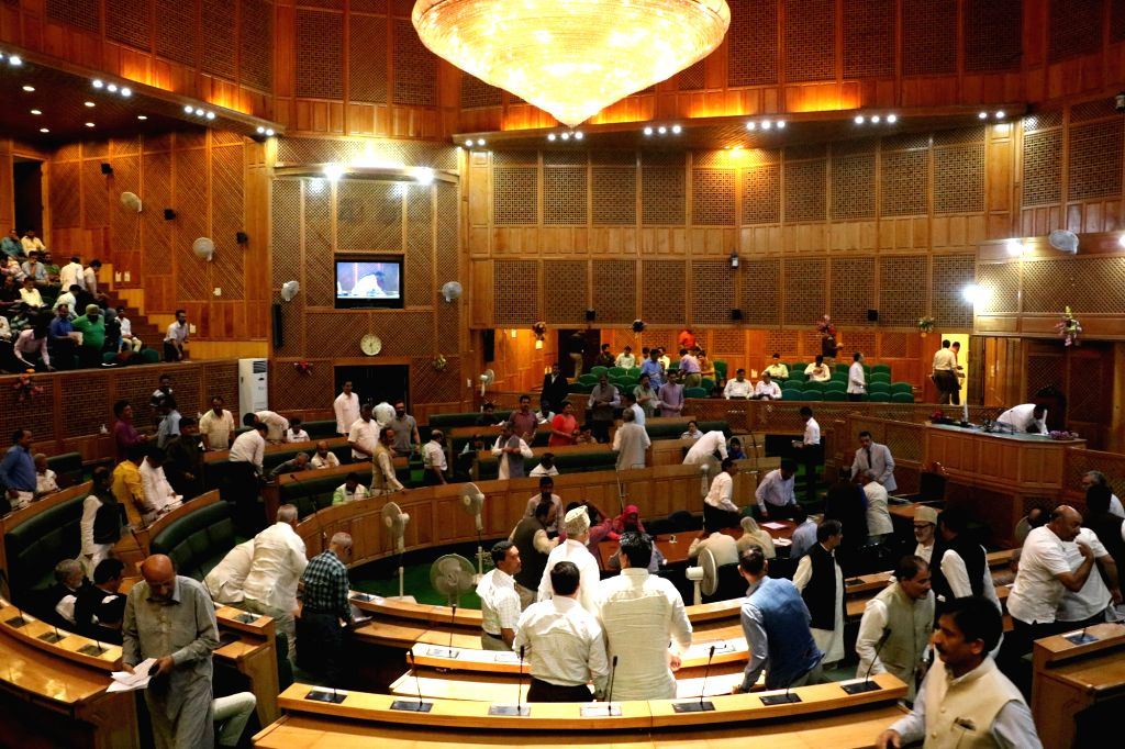 Jammu and Kashmir Assembly passes the GST resolution which was moved in the house yesterday by state finance minister, Haseeb Drabu amid noise and protest by the  opposition National ...