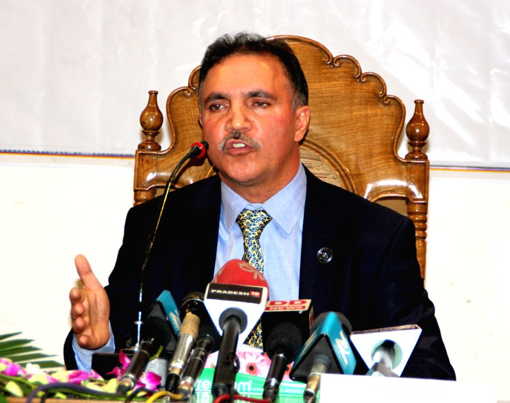 Jammu and Kashmir Bank Chairman Parvez Ahmad addresses a press conference in Srinagar on Oct 10, 2016.