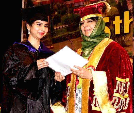 Jammu and Kashmir Chief Minister Mehbooba Mufti during the 5th Convocation of Sher-e-Kashmir Agriculture Science  Technology University in Jammu, on April 18, 2016. - Mehbooba Mufti