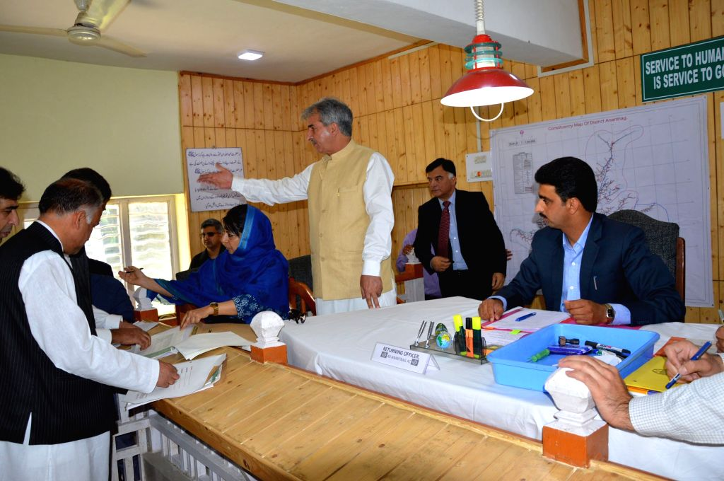 Jammu and Kashmir Chief Minister Mehbooba Mufti files her nominations from Anantnag assembly seat that fell vacant after the demise of her father and former chief minister Mufti Mohammad ... - Mehbooba Mufti