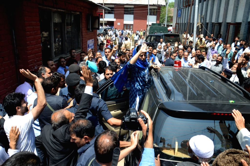 Jammu and Kashmir Chief Minister Mehbooba Mufti arrives to file her nominations from Anantnag assembly seat that fell vacant after the demise of her father and former chief minister Mufti ... - Mehbooba Mufti