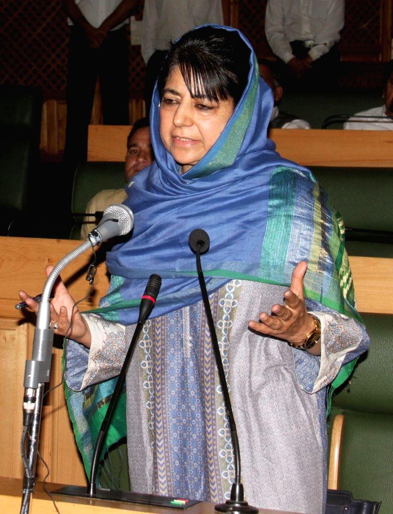 Jammu and Kashmir Chief Minister Mehbooba Mufti addresses at Jammu and Kashmir Legislative Assembly in Srinagar on June 30, 2016. - Mehbooba Mufti