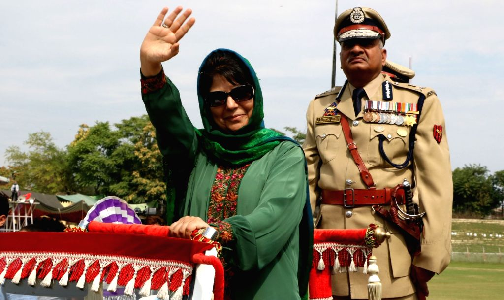 Jammu and Kashmir Chief Minister Mehbooba Mufti inspects Guard of Honour during Independence Day programme at Bakshi stadium in Srinagar on Aug 15, 2016. - Mehbooba Mufti