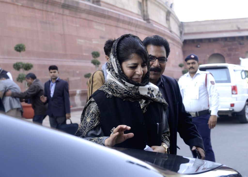 Jammu and Kashmir Chief Minister Mehbooba Mufti at Parliament in New Delhi on Nov 28, 2016. - Mehbooba Mufti