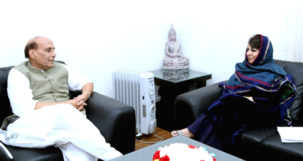 Jammu and Kashmir Chief Minister Mehbooba Mufti calls on Union Home Minister Rajnath Singh in New Delhi on Nov 28, 2016. - Mehbooba Mufti and Rajnath Singh