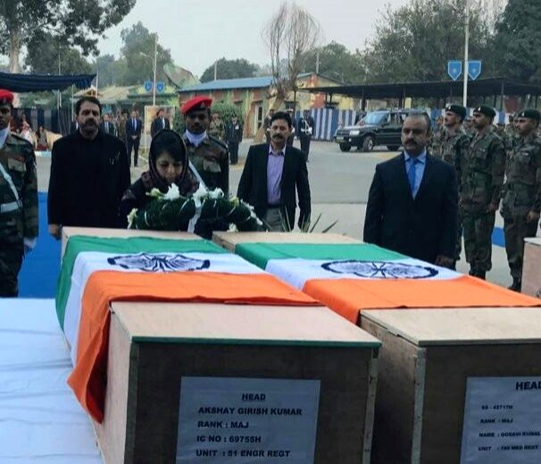 Jammu and Kashmir Chief Minister Mehbooba Mufti lays wreath on the mortal remains of the seven Army personnel killed in a militant attack at Nagrota army camp in Jammu on Nov 30, 2016. - Mehbooba Mufti