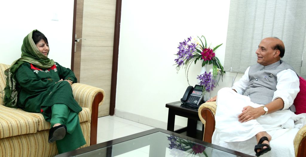 Jammu and Kashmir Chief Minister Mehbooba Mufti calls on Union Home Minister Rajnath Singh, in New Delhi on Aug 10, 2017. - Mehbooba Mufti and Rajnath Singh