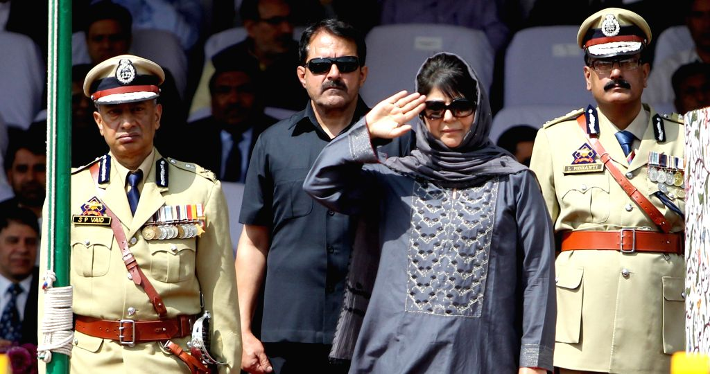 Jammu and Kashmir Chief Minister Mehbooba Mufti during Independence Day celebrations in Srinagar, on Aug 15, 2017. - Mehbooba Mufti