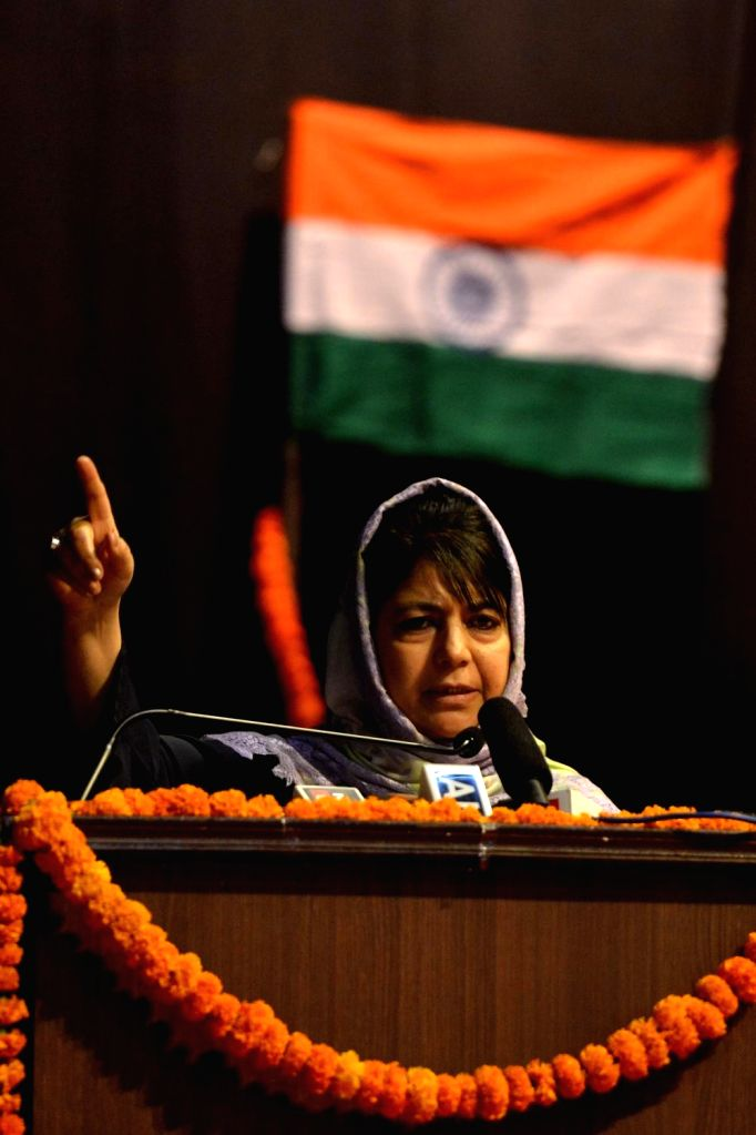 Jammu and Kashmir Chief Minister Mehbooba Mufti addresses during an interaction with Kashmiri Pandits in New Delhi, on March 31, 2018. - Mehbooba Mufti
