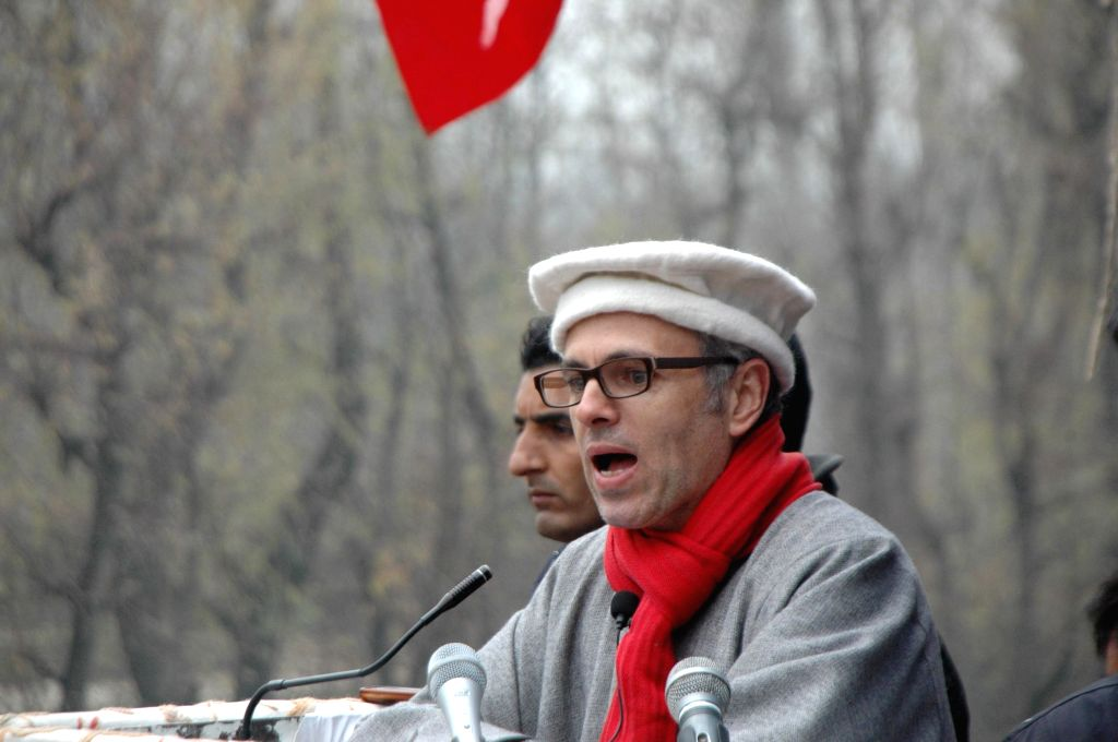 Jammu and Kashmir Chief Minister Omar Abdullah during a rally ahead of assembly elections in Kulgam district of Jammu and Kashmir on Nov 27, 2014.