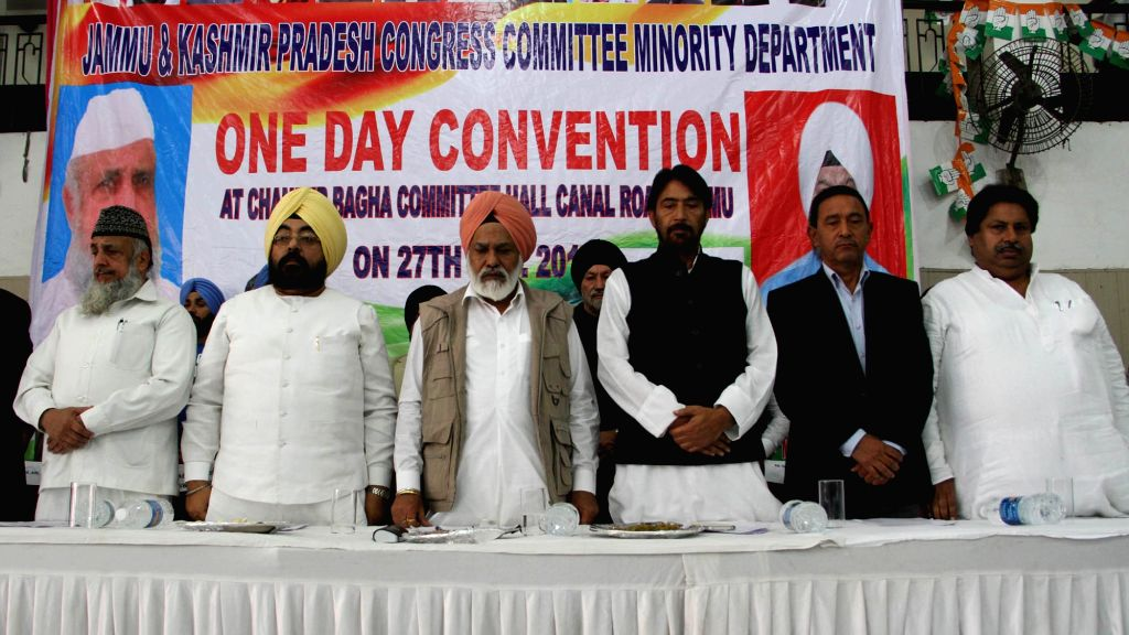 Jammu and Kashmir Congress chief  Ghulam Ahmed Mir with Shamsher Singh Dulo and others during a party programme in Jammu on Nov 27, 2016. - Shamsher Singh Dulo
