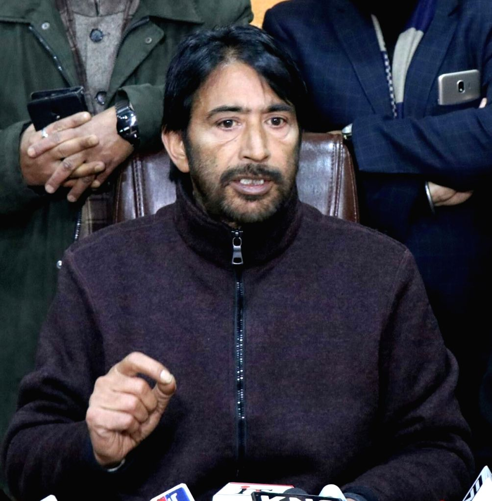 Jammu and Kashmir Congress President Ghulam Ahmed Mir addresses a press conference in Srinagar on Dec 12, 2018.