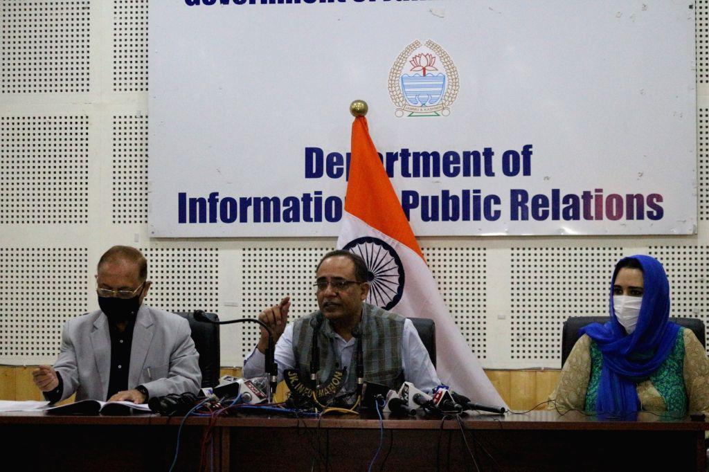 Jammu and Kashmir Government spokesperson Rohit Kansal addresses a press conference in Srinagar on Sep 1, 2020.