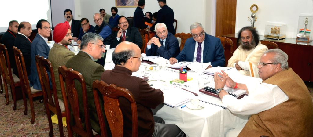 Jammu and Kashmir Governor and Shri Mata Vaishno Devi Shrine Board Chairman Satya Pal Malik chairs the 64th meeting of the board at Raj Bhavan in Jammu, on March 15, 2019. - Malik