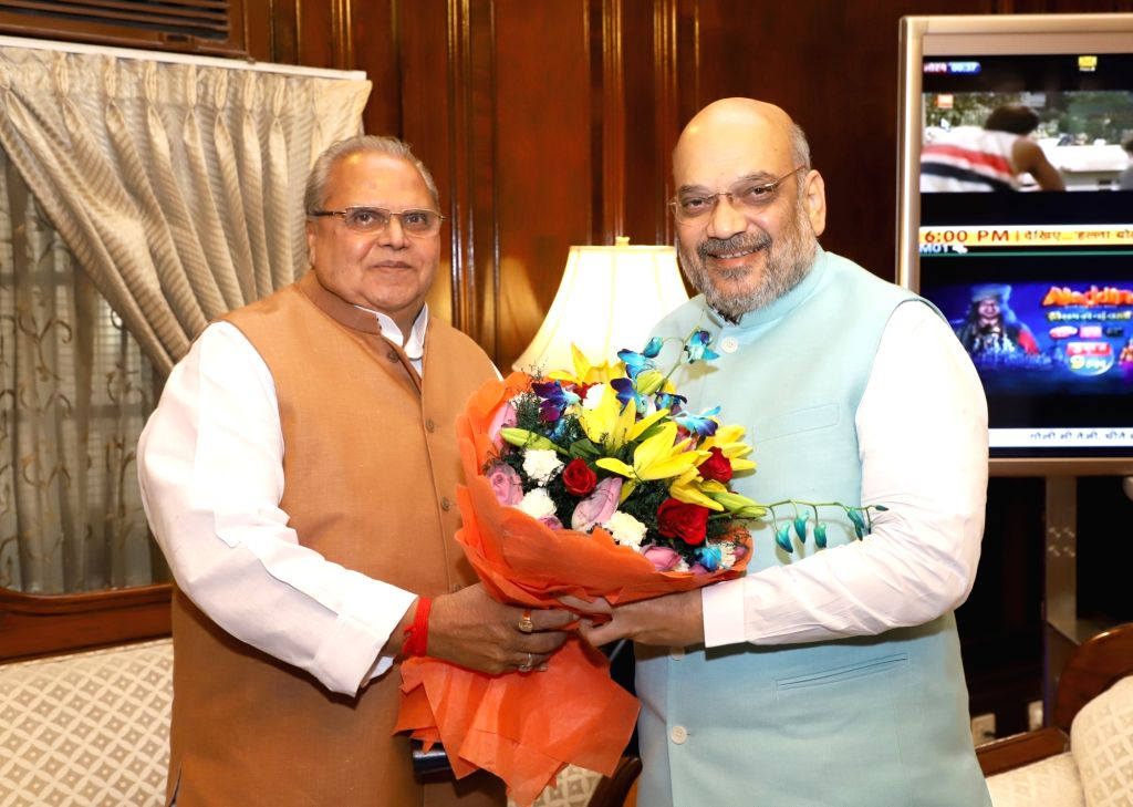 Jammu and Kashmir Governor Satya Pal Malik calls on Union Home Minister Amit Shah, in New Delhi on June 1, 2019. - Amit Shah and Malik