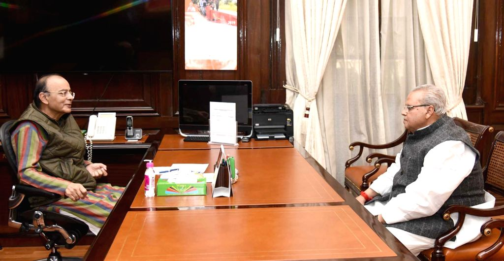 Jammu and Kashmir Governor Satya Pal Malik meets Union Finance Minister Arun Jaitley, in New Delhi, on Feb 20, 2019. - Arun Jaitley and Malik