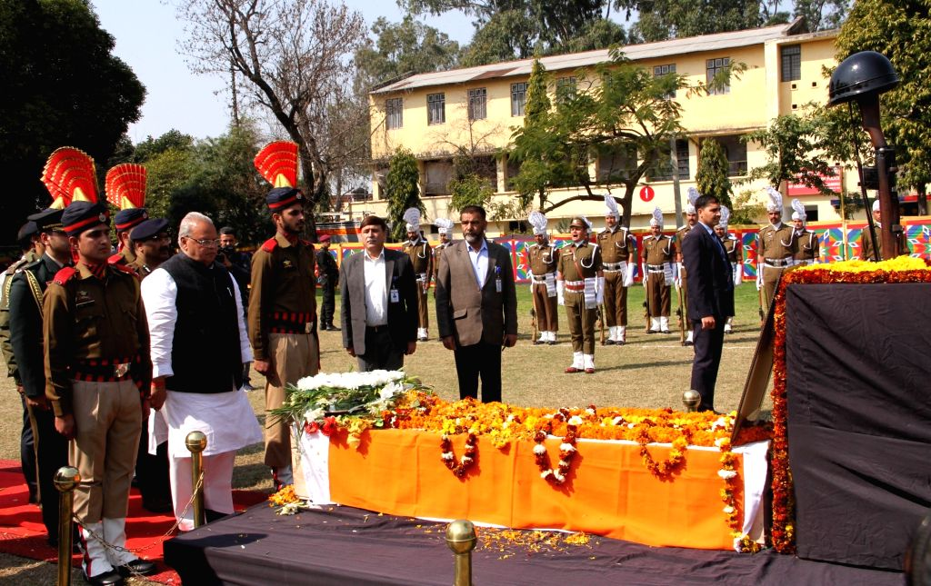 Jammu and Kashmir Governor Satya Pal Malik pays tribute to Deputy Superintendent of Police (DSP) Aman Kumar Thakur, who was killed on 24th February, fighting JeM militants in the J&K's ... - Malik and Aman Kumar Thakur
