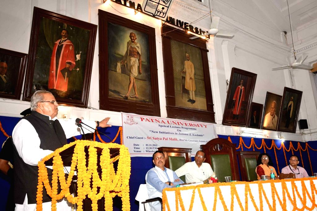 Jammu and Kashmir Governor Satyapal Malik addresses during a seminar at Patna University in Patna on Nov 1, 2018. - Malik