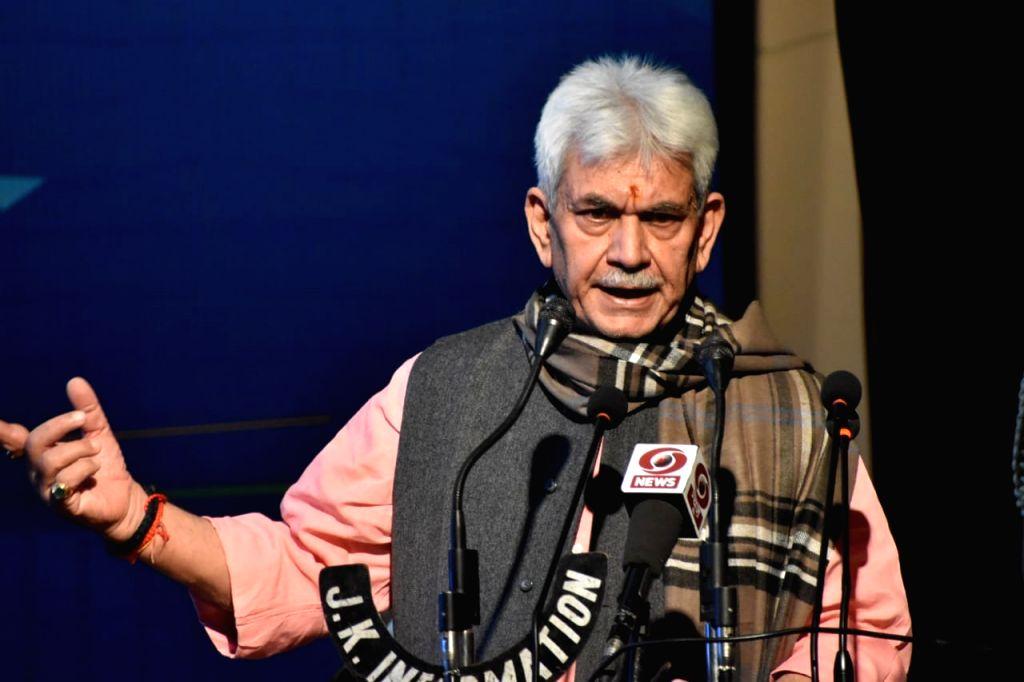 Jammu and Kashmir Lieutenant Governor Manoj Sinha addresses a press conference at Raj Bhavan in Srinagar on Oct 27, 2020. - Manoj Sinha
