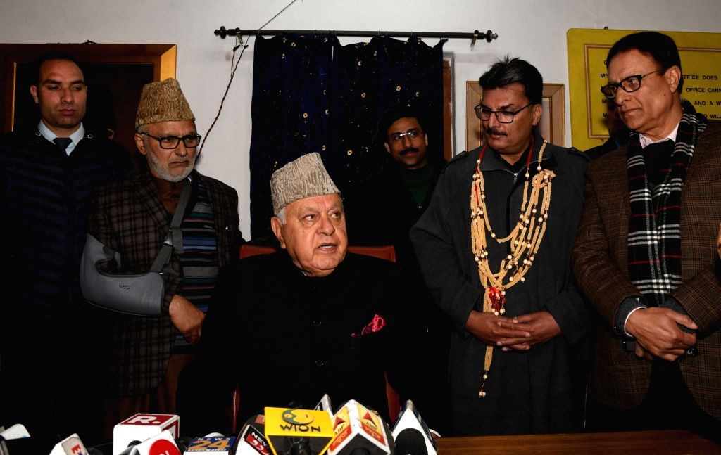 Jammu and Kashmir National Conference President Farooq Abdullah addresses a press conference in Srinagar on March 8, 2019.