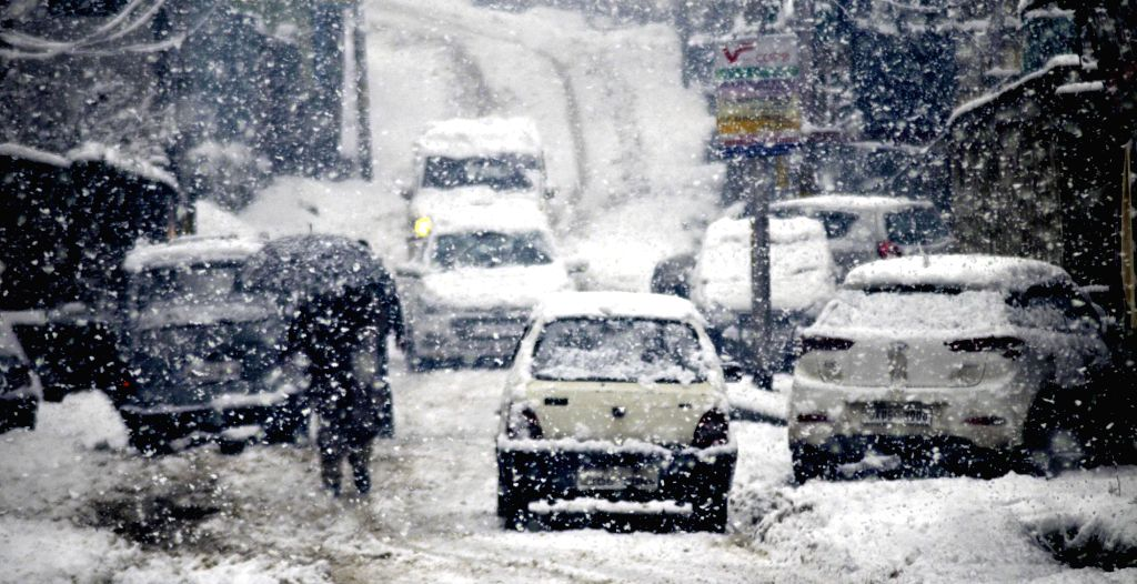 Jammu and Kashmir's Baramulla receives snowfall on Feb 6, 2019.