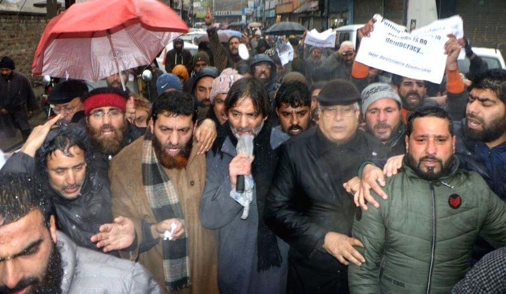 Jammu Kashmir Liberation Front (JKLF) Chairman Muhammad Yasin Malik leads a protest march to Lal Chowk in Srinagar on on Feb 6, 2019. - Malik