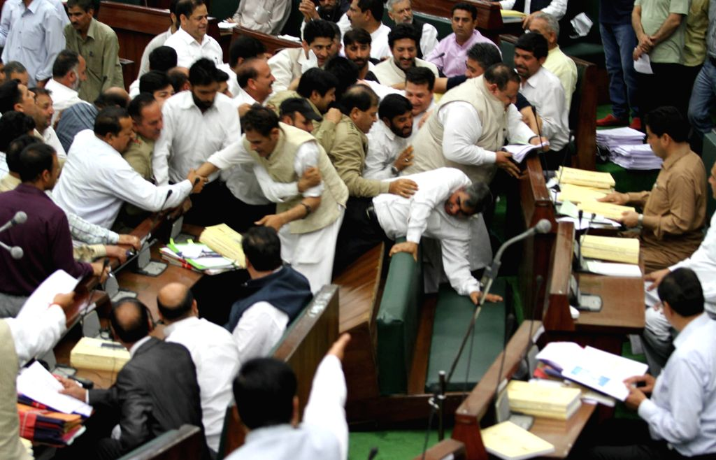 Pandemonium in the Jammu and Kashmir Legislative Council regarding central government's refusal to transfer power projects to state in Jammu, on March 27, 2015.