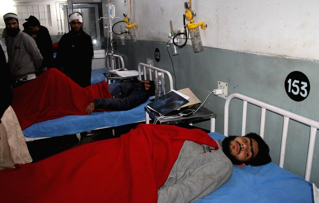 Jammu: People injured in shelling by the Pakistani army on the Line of Control (LoC) being treated at Government Medical College in Jammu on March 1, 2019. (Photo: IANS)