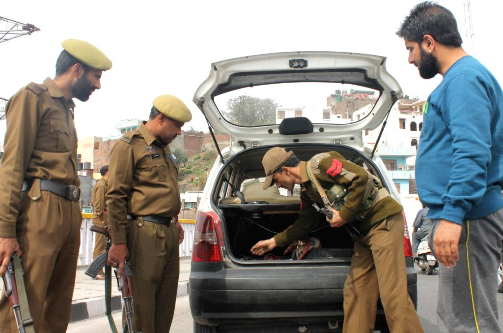 Security beefed up in Jammu on the eve of the swearing in ceremony of  Jammu and Kashmir Chief Minister and his council of Ministers on Feb 28, 2015.