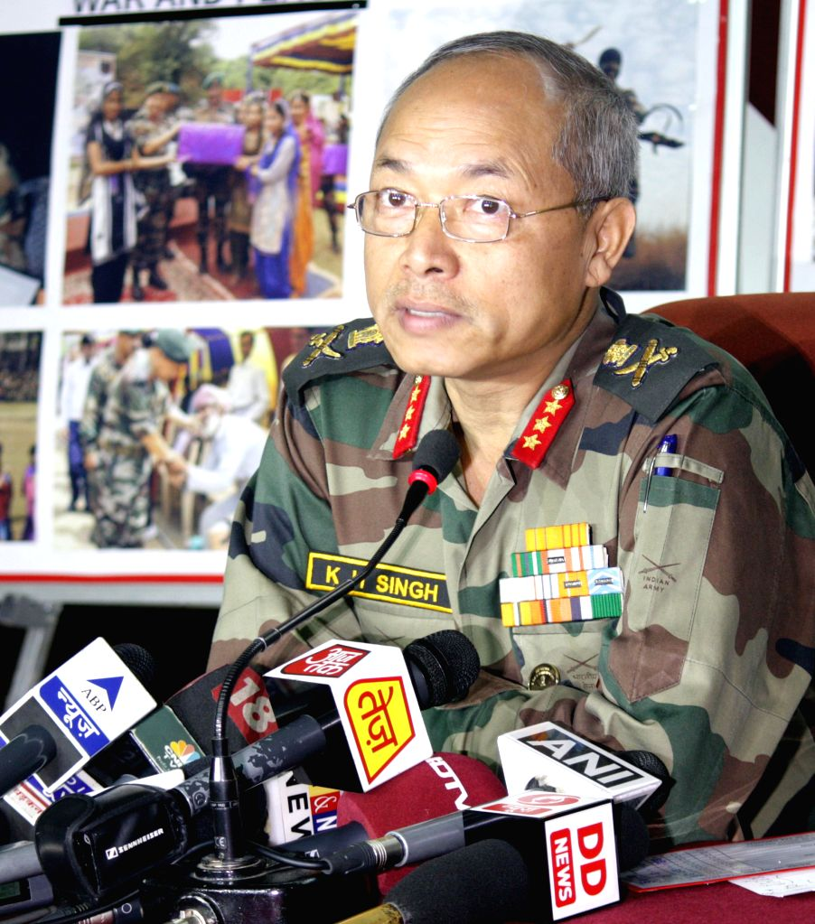 The Commander of Army's 16 Corps Lt. Gen. K H Singh during a press conference in Nagrota of Jammu district on Jan 15, 2015.