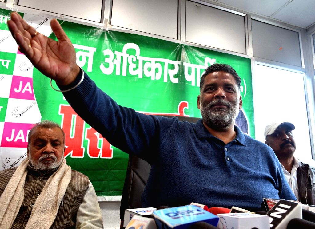 Jan Adhikar Party chief Pappu yadav addresses during a press conference in Patna on Feb 13, 2018.